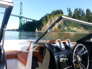 18ft boat at Stanley Park and Lions Gate Bridge