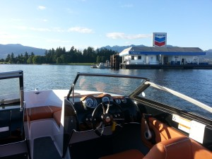 18ft boat at Chevron floating gas station coal harbour