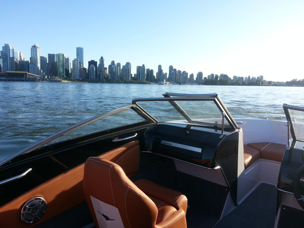Downtown Vancouver skyline from 18ft glastron rental boat