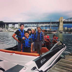 Eric McCormack renting a boat with family and friends