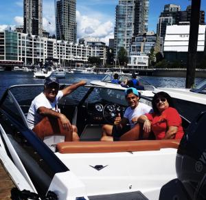 Matias Laba and his parents at Granville Island Boat Rentals
