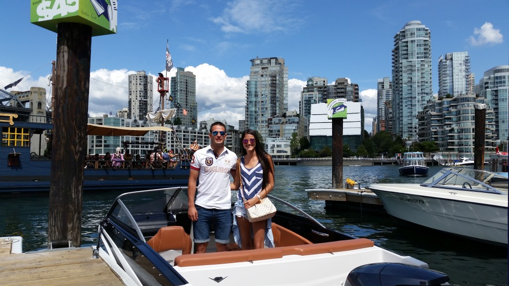 Octavio Rivero boating at Granville Island Boat Rentals