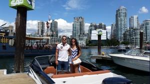 Octavio Rivero boating at Granville Island Boat Rentals