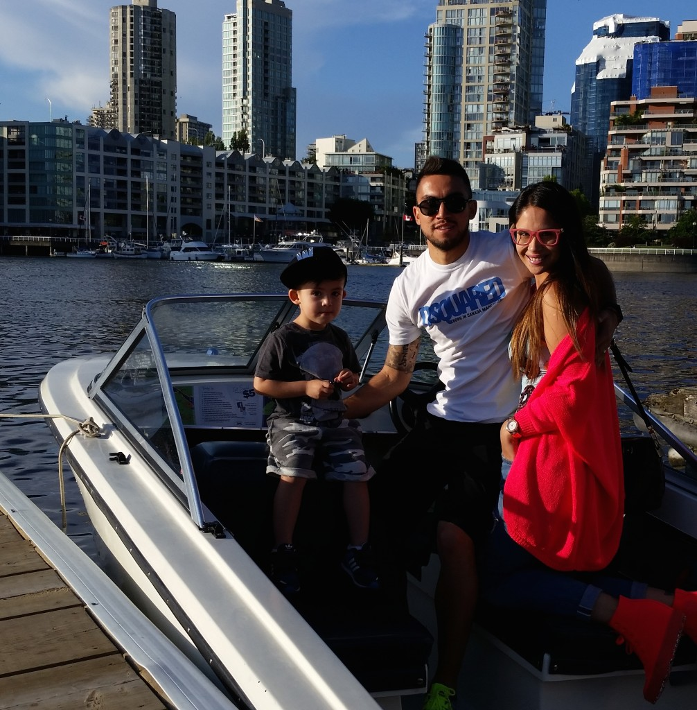 Pedro Morales and family visit Granville Island Boat Rentals