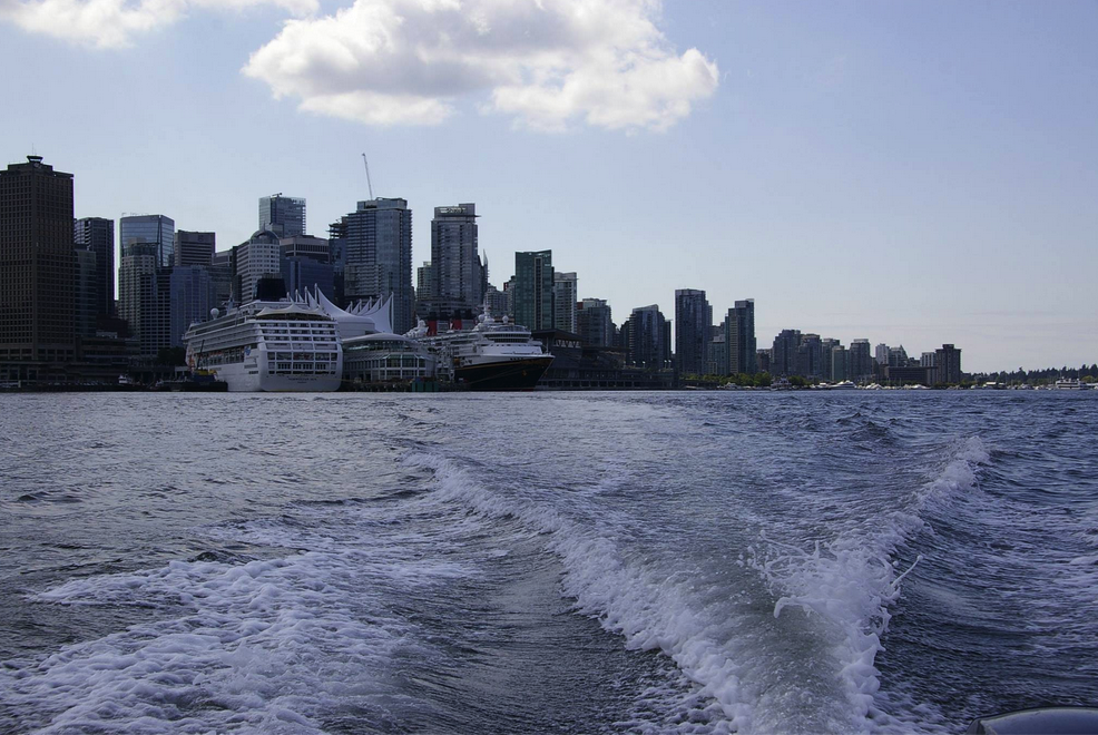 Cruise ships from a boat in Coal Harbour