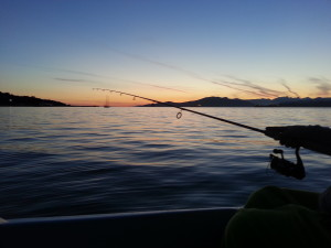Sunset fishing from rental boat vancouver