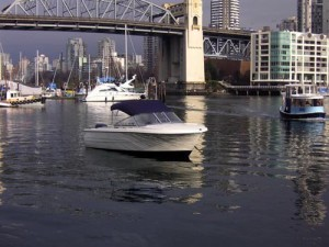 Rental boat in false creek