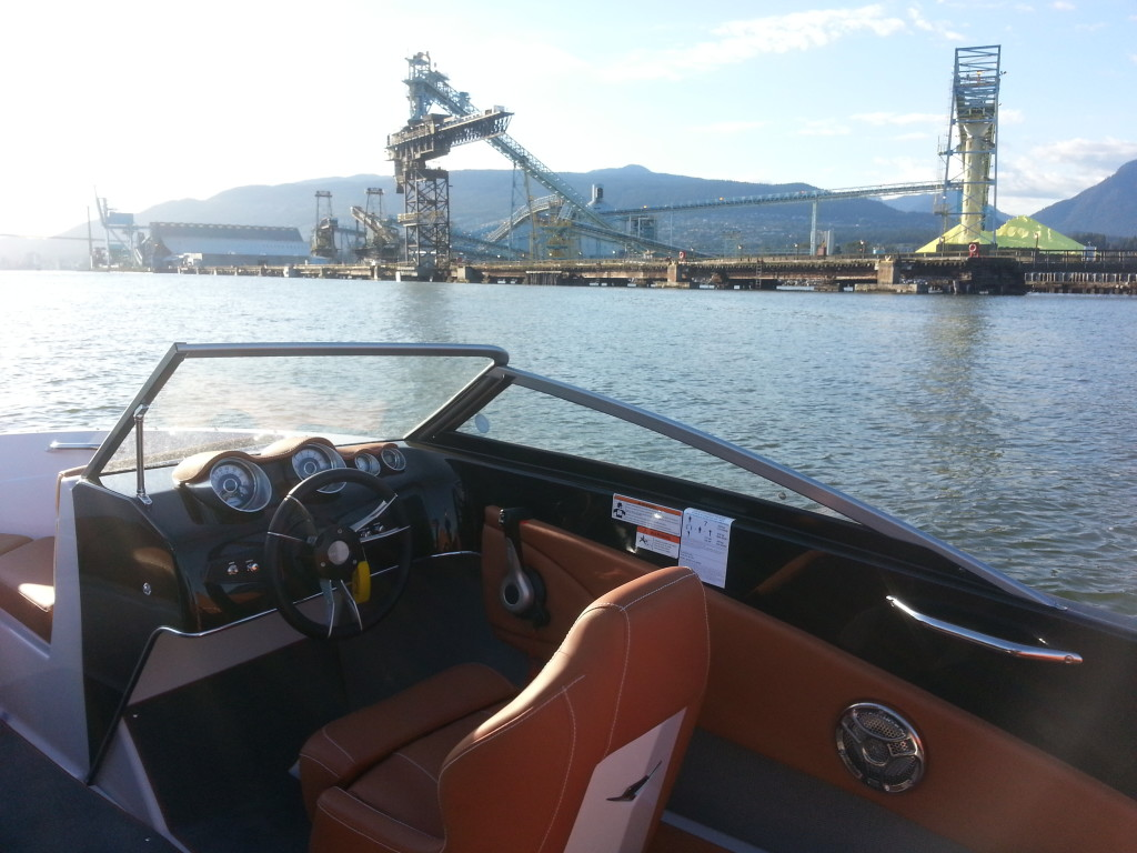 View of the Industrial Park North Vancouver by rental boat
